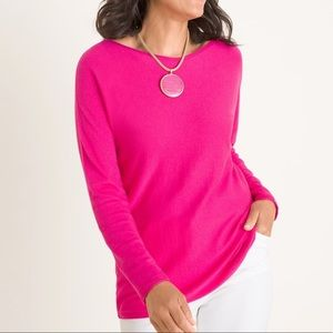 Chico's Hot Pink Lightweight Pullover Sweater
